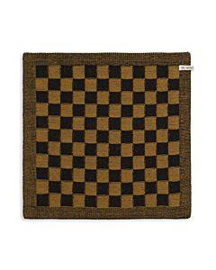 Knit Factory handdoek geruit 50 x 50 cm katoen acryl zwart oker