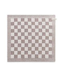 Knit Factory handdoek geruit 50 x 50 cm katoen acryl taupe ecru
