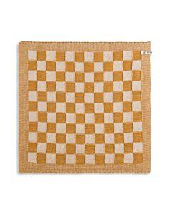 Knit Factory handdoek geruit 50 x 50 cm katoen acryl ecru oker