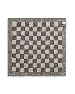 Knit Factory handdoek geruit 50 x 50 cm katoen acryl ecru kaki