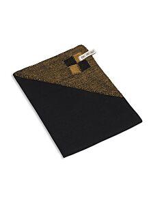Knit Factory theedoek 65 x 65 cm katoen/acryl/linnen zwart/oker