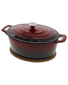 La Cuisine braadpan ovaal 6,5 liter ø 33 cm gietijzer rood