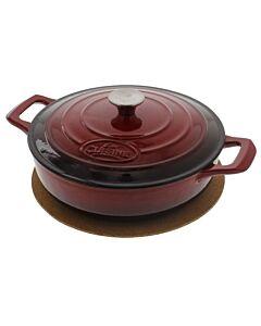La Cuisine lage braadpan rond 3,5 liter ø 28 cm gietijzer rood