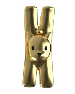 Alessi Lampo klem met magneet 8,5 cm kunststof goudkleurig