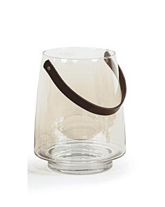 Oldenhof Hurricane lantaarn helder met leren hengsel ø 22,5 cm glas