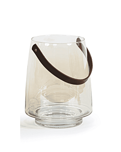 Oldenhof Hurricane lantaarn helder met leren hengsel ø 28 cm glas