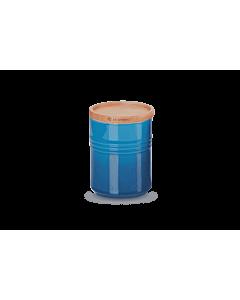 Le Creuset voorraadpot met houten deksel ø 10 x 12 cm aardewerk Marseilleblauw