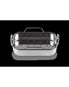 Le Creuset Magnetik braadslede met grillinzet 35 cm rvs