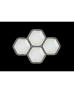 Le Creuset Hexagon serveerschaaltje 9,5 cm aardewerk Meringue 4 stuks