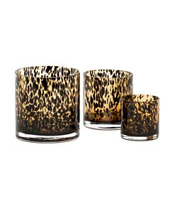 Oldenhof Leopard Vase waxinelichthouder ø 9 cm x 9 cm glas bruin