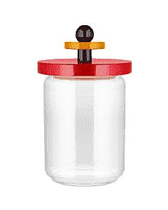 Alessi Twergi ES16/100 voorraadpot 1 liter glas hout rood