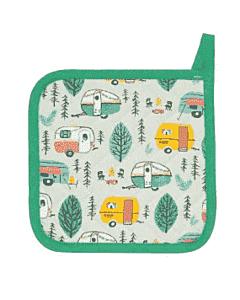 Now Designs Happy Camper pannenlap 20 x 20 cm katoen groen