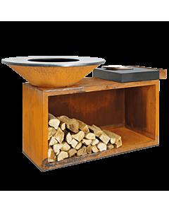 OFYR Island 100-100 vuurkorf - barbecue met meubel en plank van donkergrijs keramiek