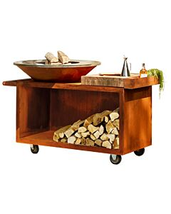 OFYR Island PRO 100-100 vuurkorf - barbecue met meubel en plank van teakhout