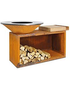 OFYR Island 100-100 vuurkorf - barbecue met meubel en plank van teakhout