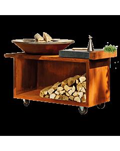 OFYR Island PRO 100-100 vuurkorf - barbecue met meubel en plank van donkergrijs keramiek