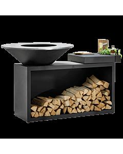 OFYR Island Black 85-100 vuurkorf - barbecue met meubel en plank van donkergrijs keramiek