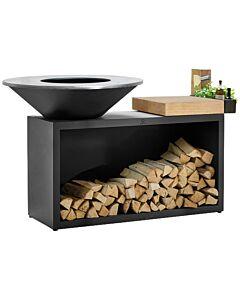 OFYR Island Black 100-100 vuurkorf - barbecue met meubel en plank van teakhout