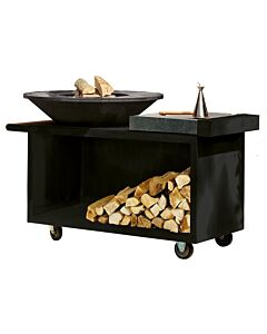 OFYR Island Black PRO 100-100 vuurkorf - barbecue met meubel en plank van donkergrijs keramiek