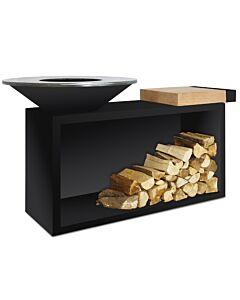 OFYR Island Black 85-100 vuurkorf - barbecue met meubel en plank van teakhout