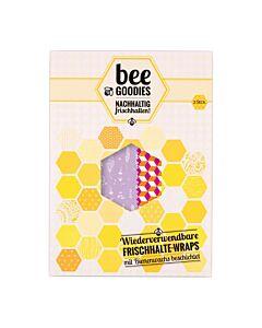 Bee Goodies herbruikbare Food Wraps M/L vierkantjes paars 2-delig