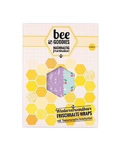 Bee Goodies herbruikbare Food Wraps M/L kersen turqoise 2-delig