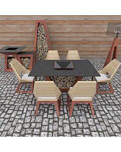 Quan Quadro tafel voor 6 personen 180 x 120 cm cortenstaal