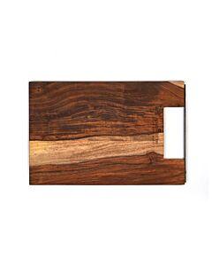 Bowls and Dishes Rose Wood rechte serveerplank met metalen handvat 30 cm