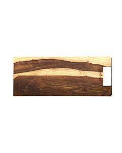 Bowls and Dishes Rose Wood rechte serveerplank met metalen handvat 49 cm
