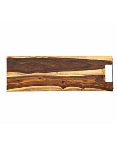 Bowls and Dishes Rose Wood rechte serveerplank met metalen handvat 59 cm - LEVERBAAR MEI