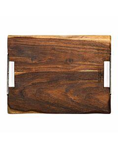 Bowls and Dishes Rose Wood serveerplank met metalen handvatten 40 x 30 cm
