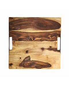 Bowls and Dishes Rose Wood serveerplank met metalen handvatten 40 x 40 cm