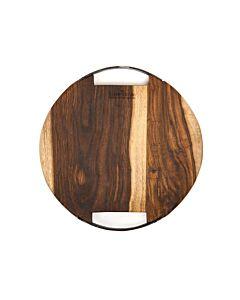 Bowls and Dishes Rose Wood ronde serveerplank met metalen handvat ø 29 cm