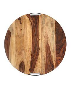 Bowls and Dishes Rose Wood ronde serveerplank met metalen handvat ø 59 cm