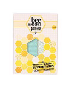 Bee Goodies herbruikbare Food Wraps M/L honingraat blauw 2-delig
