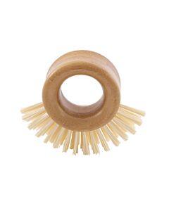 Rixx schuurborstel met ringvormig handvat 9,5 x 10,5 cm bamboe kunststof crème
