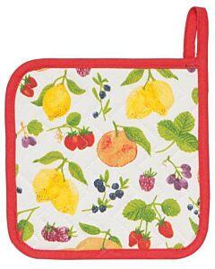 Now Designs Fruit Salad pannenlap 20 x 20 cm katoen wit/rood