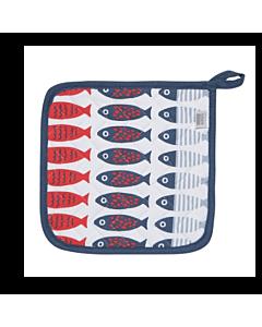 Now Designs Little Fish pannenlap 20 x 20 cm katoen blauw