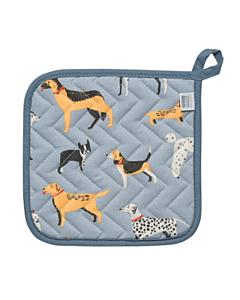 Now Designs Dog Days pannenlap 20 x 20 cm katoen blauw