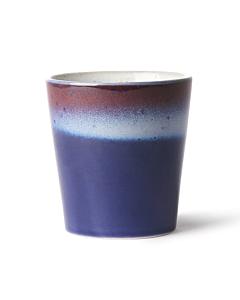 HK Living 70's Air mok 200 ml aardewerk blauw paars