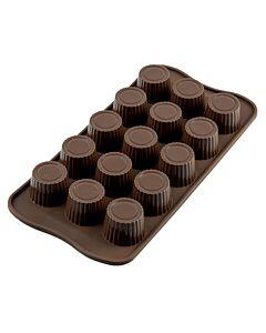 Silikomart EasyChoc Praline bonbonvorm 15 cilinders ø 3 cm silicone bruin