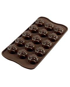 Silikomart EasyChoc Rose bonbonvorm 15 roosjes ø 2,8 cm silicone bruin