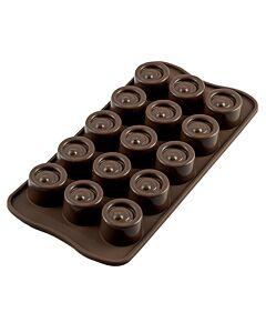 Silikomart EasyChoc Vertigo bonbonvorm 15 cilinders ø 2,8 cm silicone bruin