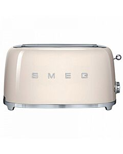 Smeg 50's style broodrooster lang 2 sleuven staal crème