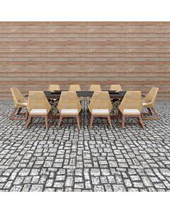 Quan Quadro tafel voor 10 personen 320 x 120 cm cortenstaal