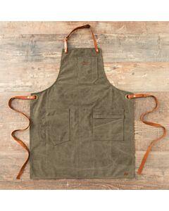 Alaskan Maker N°325 schort met nek- en middelband katoen Olive Green