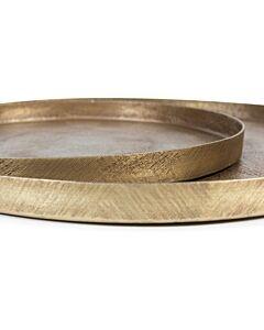 Oldenhof Tray textured kaarsenplateau ø 25 cm metaal goudkleurig