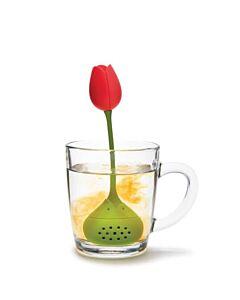 Ototo Tulip thee-ei 4 cm silicone rood/groen