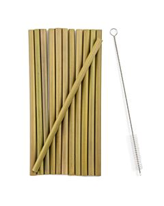 Mortier Pilon rietjes inclusief reinigingsborstel bamboe 13-delig