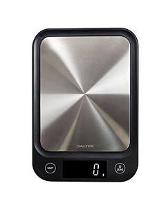 Salter Ultra Slim digitale keukenweegschaal 23 x 16 cm rvs zwart